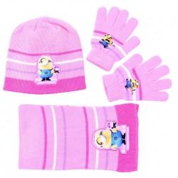 Różowo-biały zestaw: szalik, rękawiczki, czapka MINIONKI