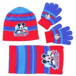 Czerwono-niebieski zestaw: szalik, rękawiczki, czapka Myszka Micky