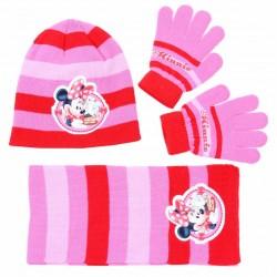 Różowo-czerwony zestaw: szalik, rękawiczki, czapka Myszka Minnie