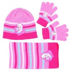 Różowo-niebieski zestaw: szalik, rękawiczki, czapka FROZEN