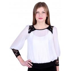 ASOS biała, połyskujaca bluzka z koronką