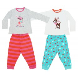 2 x Cute Long Sleeved Cotton Pyjama Sets For Girls Early Days Rebel