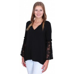 ASOS Elegancka czarna bluzka, koronkowe rękawy