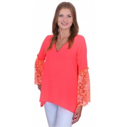 ASOS Pomarańczowa bluzka, koronkowe rękawy