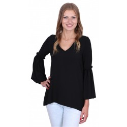 ASOS Elegancka czarna bluzka rękawy dzwony