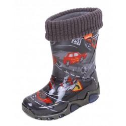 Demar Boys Wellington Boots Rain Snow Wellies PVC Liners Black Cars