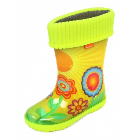 Demar Girls Wellington Boots Rain Snow Wellies PVC Warm Liners  SUN