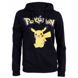 Pokémon Pikachu Girls Womens Classic Hoodie Sweatshirt, Jacket, Top, Black