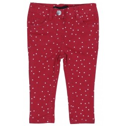 Red polka dot trousers.