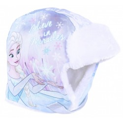 Blue/White Trapper Hat Elsa Design DISNEY FROZEN