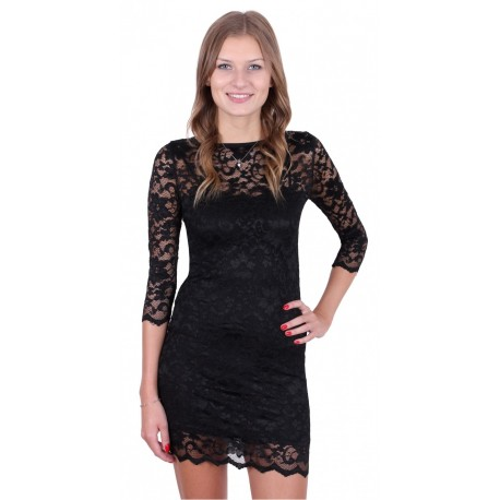 Black Floral Lace Mini Dress, 3/4 Sleeves, Bodycon Fit by John Zack