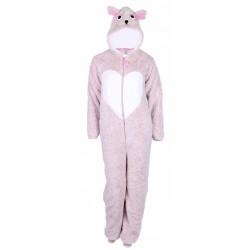 Beige One-Piece Long Sleeved Onesie Pyjama For Ladies Owl Heart Love To Lounge