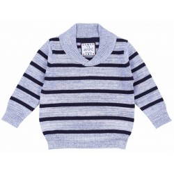 Grey And Navy Blue Sweater