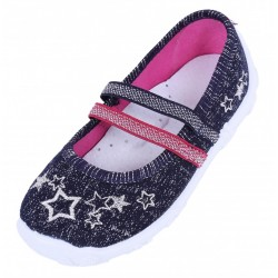 Girls Navy Blue/ Silver Stars Shoes, Slippers, Sneakers, Mary Jane, Flats LEMIGO