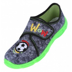Boys Graphite With Football/ Green Neon Sole Shoes, Slippers, Sneakers LEMIGO