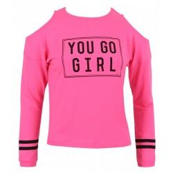 Różowa bluzka wycięte ramiona YD ACTIVE