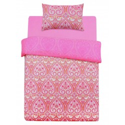 A set of pink bedding with patterns, 135x200