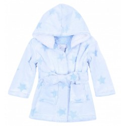 Soft & Warm Light Blue/Stars Design Dressing Gown, Bathrobe For Baby Girls