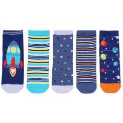 5 x Blue Socks For Boys Cosmos, Rockets Design Early Days
