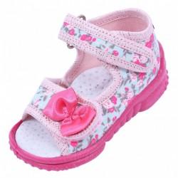 Sandałki w kwiatuszki, na rzepy LEMIGO