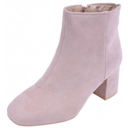 Nude, Beige, Mid Heeled Ankle Boots For Ladies