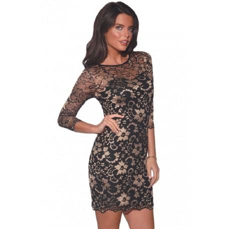 ASOS Czarno-złota koronkowa sukienka mini