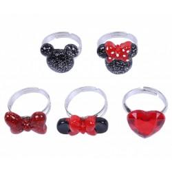 5x Czerwono-czarne pierścionki Minnie DISNEY