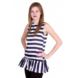 Blue/White, Striped, Sleeveless Top For Ladies JOHN ZACK