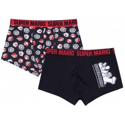 2x Czarne, męskie bokserki Super Mario