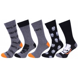 5 x  Black/Grey Crew Socks For Men Call Of Duty ACTIVISION
