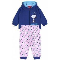 Granatowo-różowy dres Snoopy