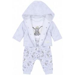 Szara niemowlęca bluza ,spodnie+body Dumbo Disney