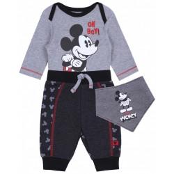 Ciemnoszare body+spodnie+śliniak Mickey Disney