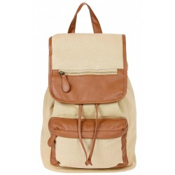 Beige, Canvas Fabric Backpack, Knapsack, Rucksack, Faux-Leather Details