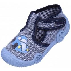 Niebiesko-białe buciki, kapcie z autkiem MATI TERMODRUK