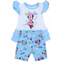 Niebieski komplet niemowlęcy w paski Myszka Minnie Disney