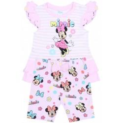 Różowy komplet niemowlęcy w paski Myszka Minnie Disney