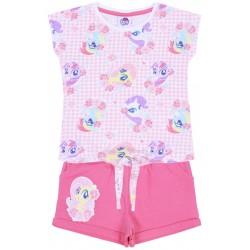 Różowy komplet dziewczęcy w kratkę wiązana koszulka+spodenki Little Pony