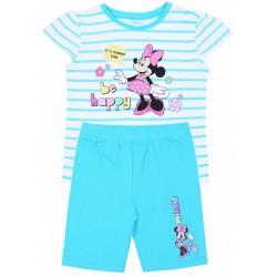 Biało-turkusowy komplet dziewczęcy w paski koszulka+spodenki Myszka Minnie Disney