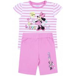 Biało-różowy komplet dziewczęcy w paski koszulka+spodenki Myszka Minnie Disney