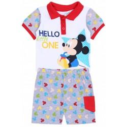 Biało-szary komplet niemowlęcy,koszulka polo+spodenki Myszka Mickey Disney