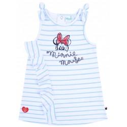 Biała sukienka niemowlęca w niebieskie paski MINNIE Disney
