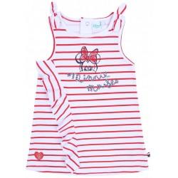 Biała sukienka niemowlęca w czerwone paski MINNIE Disney