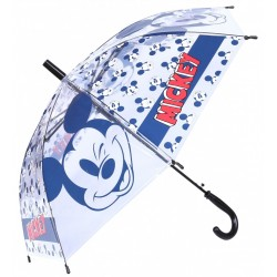 Transparentna parasolka z granatowym nadrukiem Myszka Mickey