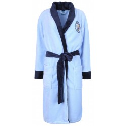 Mens' Official Baby Blue Manchester City Fleece Dressing Gown