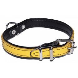 Żółta, skórzana obroża dla psa 16mm/40cm