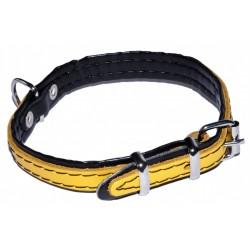 Żółta obroża dla psa - skórzana 12mm/32cm