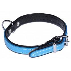 Skórzana, błękitna obroża dla psa 14mm/36cm