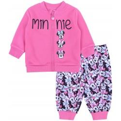 Różowy, dwuczęściowy dres dziewczęcy zapinany na zamek Mysza Minnie DISNEY