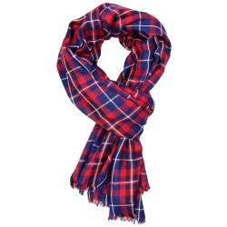 Red-Navy Blue Checkered Pattern Scarf